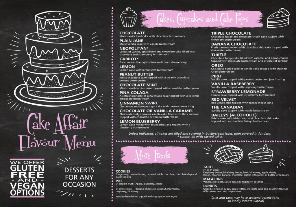 Flavour Menu Cake Affair Cakes Cupcakes Dessert